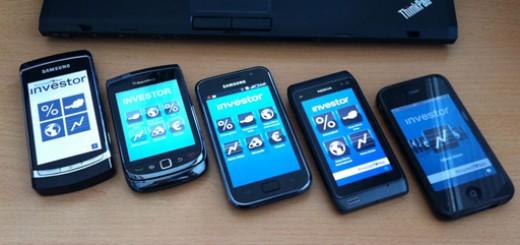 Smartphone-Quintett mit WirtschaftsBlatt investor App