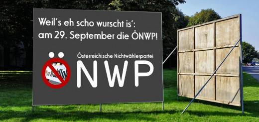 Plakat der ÖNWP (Österreichische Nichtwählerpartei)