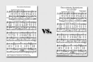 Die Österreichische Bundeshymne (links die Version von 2011, rechts die von 1947-2011)